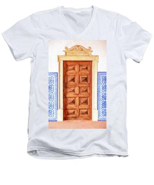 Brown Wood Door Of Old World Europe Men's V-Neck T-Shirt
