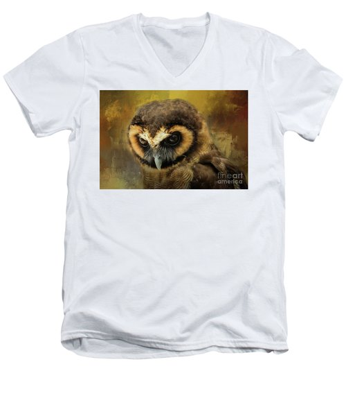 Brown Wood Owl Men's V-Neck T-Shirt