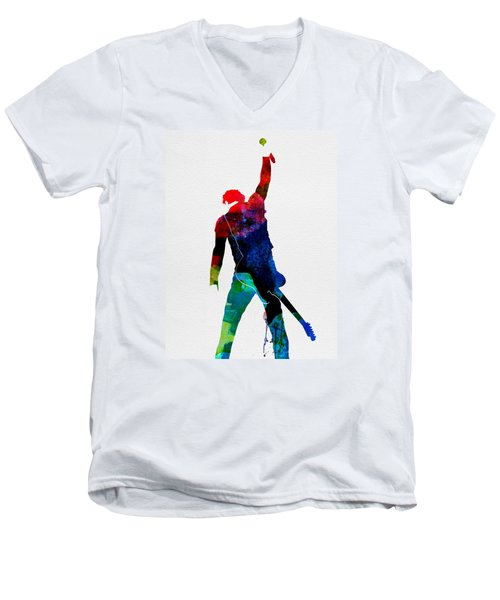 Bruce Watercolor Men's V-Neck T-Shirt by Naxart Studio