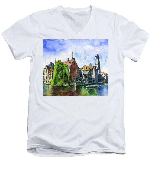 Bruges Belgium Men's V-Neck T-Shirt by John D Benson
