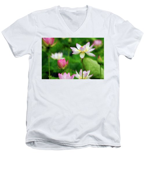 Brushed Lotus Men's V-Neck T-Shirt by Edward Kreis