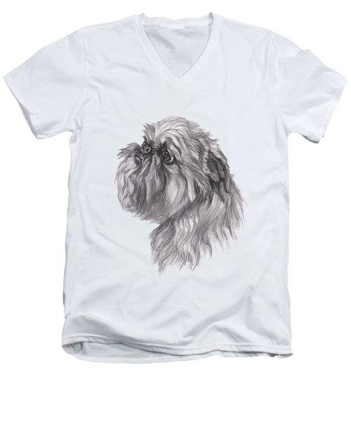 Brussels Griffon Dog Portrait  Drawing Men's V-Neck T-Shirt