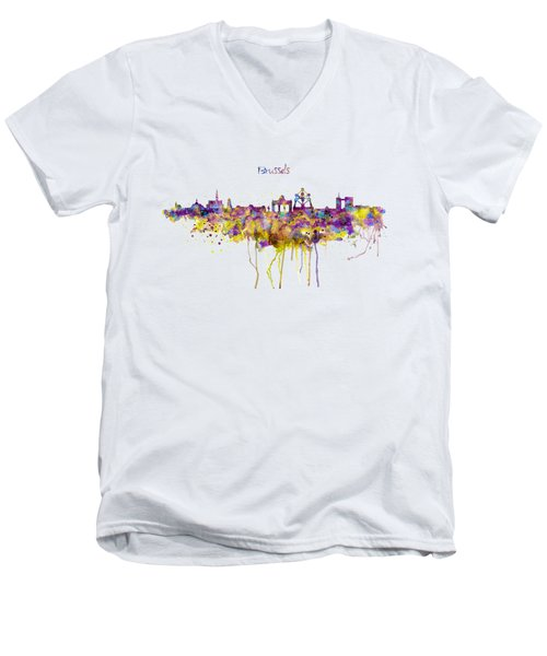Brussels Skyline Silhouette Men's V-Neck T-Shirt by Marian Voicu