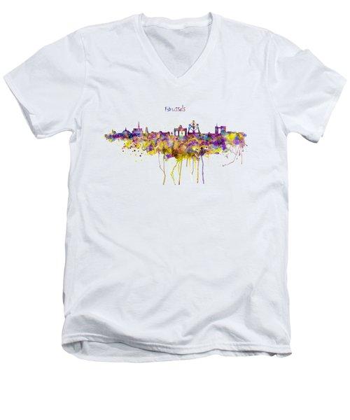 Brussels Skyline Silhouette Men's V-Neck T-Shirt
