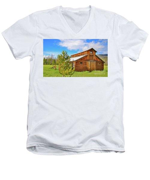 Buckaroo Barn 2 Men's V-Neck T-Shirt by John Roberts
