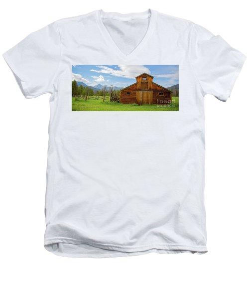 Buckaroo Barn In Rocky Mtn National Park Men's V-Neck T-Shirt by John Roberts