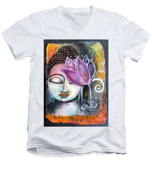 Men's V-Neck T-Shirt featuring the mixed media Buddha With Torn Edge Paper Look by Prerna Poojara