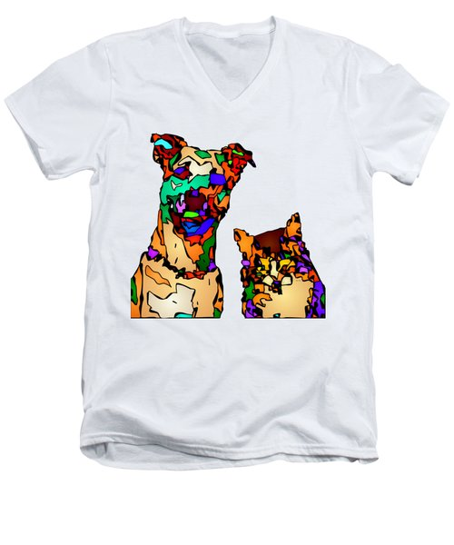 Buddies For Life. Pet Series Men's V-Neck T-Shirt