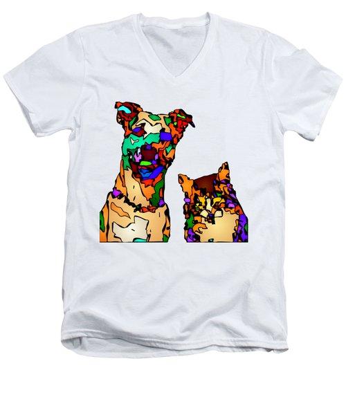 Buddies For Life. Pet Series Men's V-Neck T-Shirt