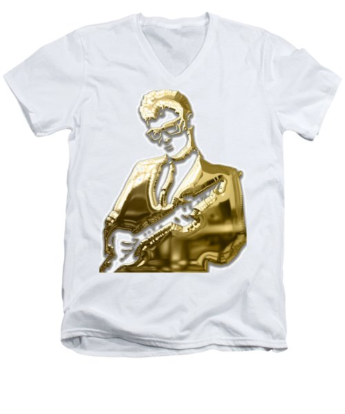 Buddy Holly Collecton Men's V-Neck T-Shirt by Marvin Blaine
