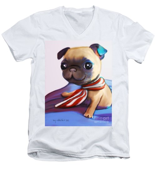 Buddy The Pug Men's V-Neck T-Shirt