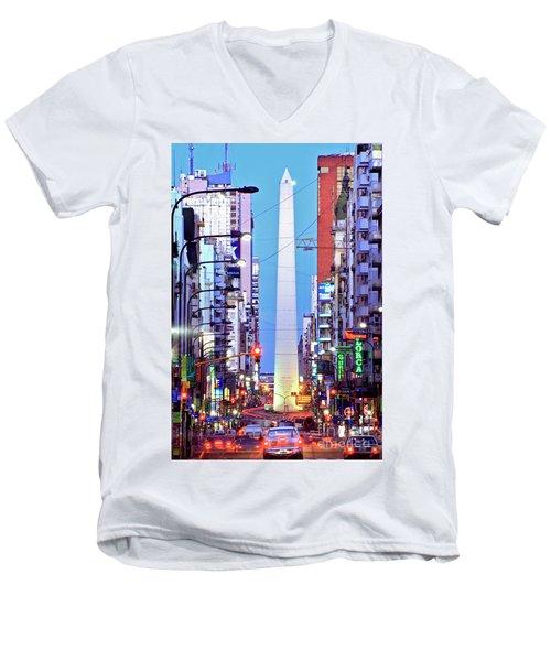 Buenos Aires Obelisk Men's V-Neck T-Shirt by Bernardo Galmarini