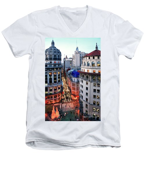 Buenos Aires Street I Men's V-Neck T-Shirt by Bernardo Galmarini