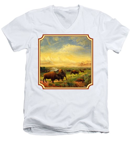 Buffalo Fox Great Plains Western Landscape Oil Painting - Bison - Americana - Square Format Men's V-Neck T-Shirt by Walt Curlee