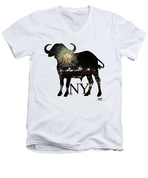 Buffalo Ny Canalside 4th Of July Men's V-Neck T-Shirt by Michael Frank Jr