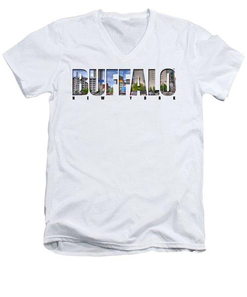 Buffalo Ny Entering Downtown Men's V-Neck T-Shirt by Michael Frank Jr
