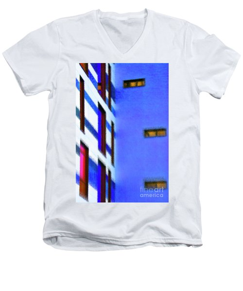 Men's V-Neck T-Shirt featuring the digital art Building Block - Blue by Wendy Wilton
