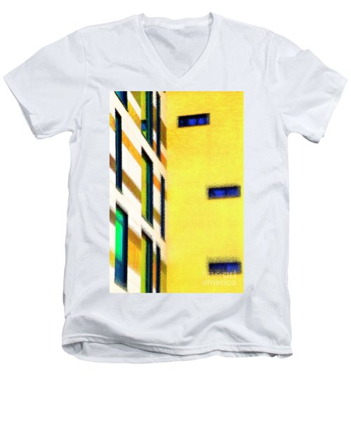 Men's V-Neck T-Shirt featuring the digital art Building Block - Yellow by Wendy Wilton