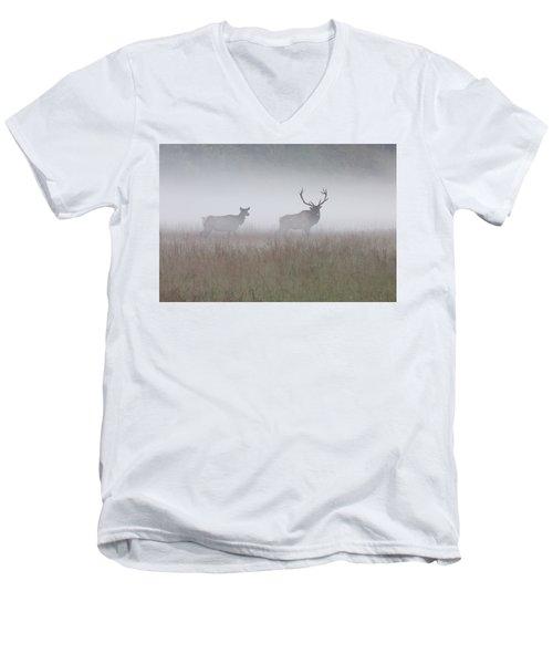 Bull And Cow Elk In Fog - September 30 2016 Men's V-Neck T-Shirt