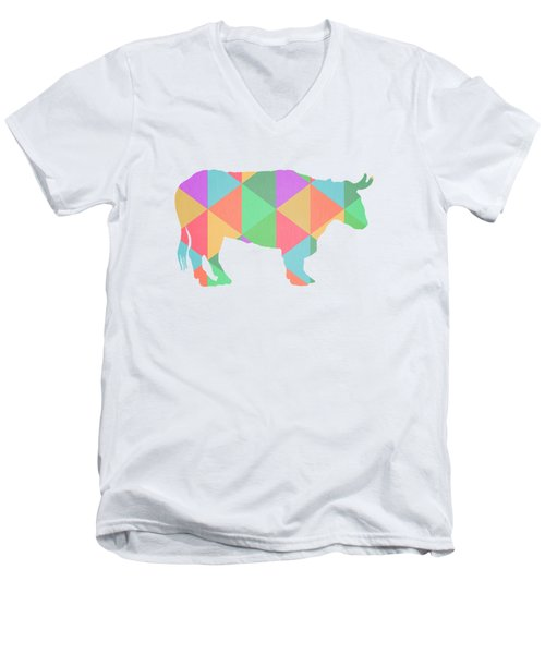 Bull Cow Triangles Men's V-Neck T-Shirt by Edward Fielding