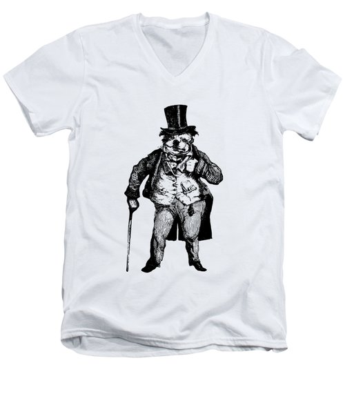Bull Dog Grandville Transparent Background Men's V-Neck T-Shirt