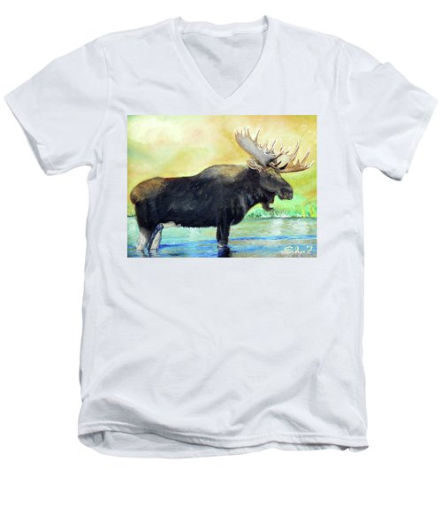 Bull Moose In Mid Stream Men's V-Neck T-Shirt