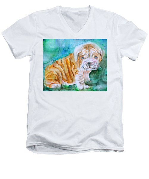 Men's V-Neck T-Shirt featuring the painting Bulldog Cub  - Watercolor Portrait by Fabrizio Cassetta