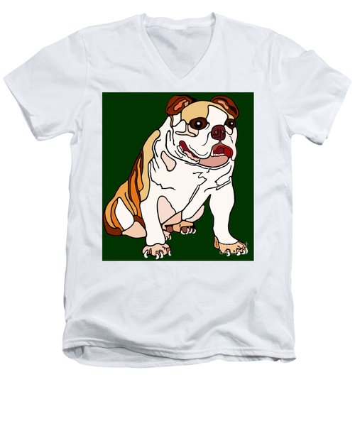 Men's V-Neck T-Shirt featuring the painting Bulldog by Marian Cates