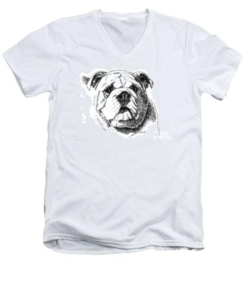 Bulldog-portrait-drawing Men's V-Neck T-Shirt