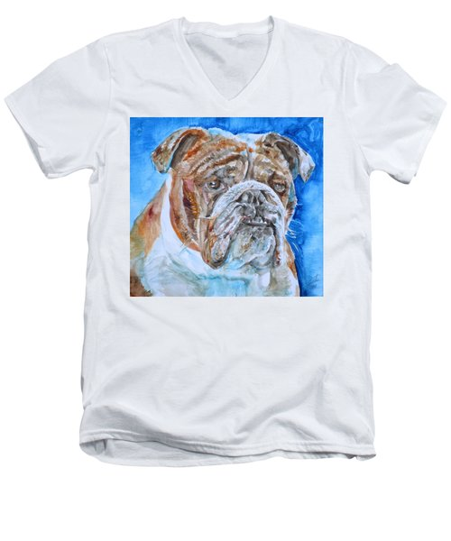 Men's V-Neck T-Shirt featuring the painting Bulldog - Watercolor Portrait.8 by Fabrizio Cassetta