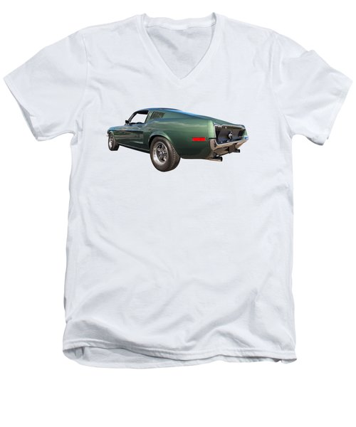 Men's V-Neck T-Shirt featuring the photograph Bullitt - 1968 Mustang Fastback by Gill Billington