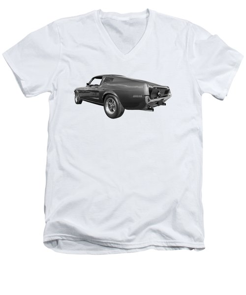Men's V-Neck T-Shirt featuring the photograph Bullitt Mustang 1968 In Black And White by Gill Billington