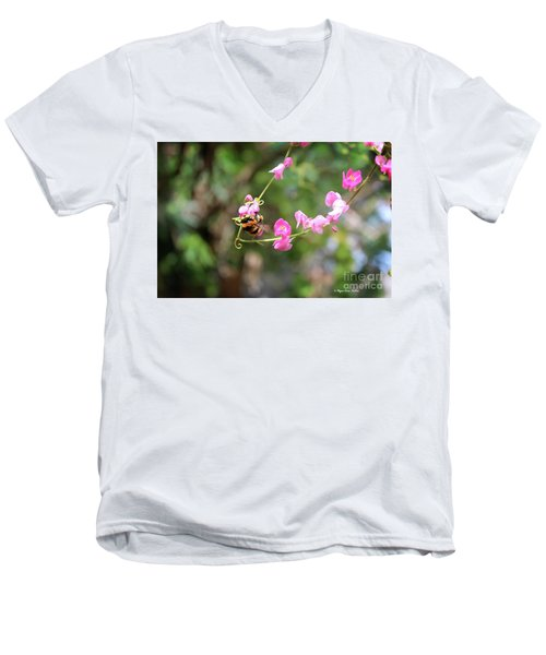 Men's V-Neck T-Shirt featuring the photograph Bumble Bee1 by Megan Dirsa-DuBois