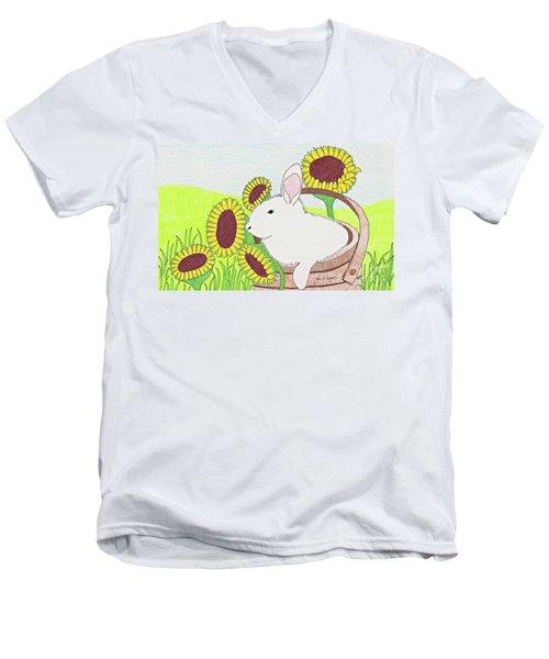 Bunny In A Basket Men's V-Neck T-Shirt