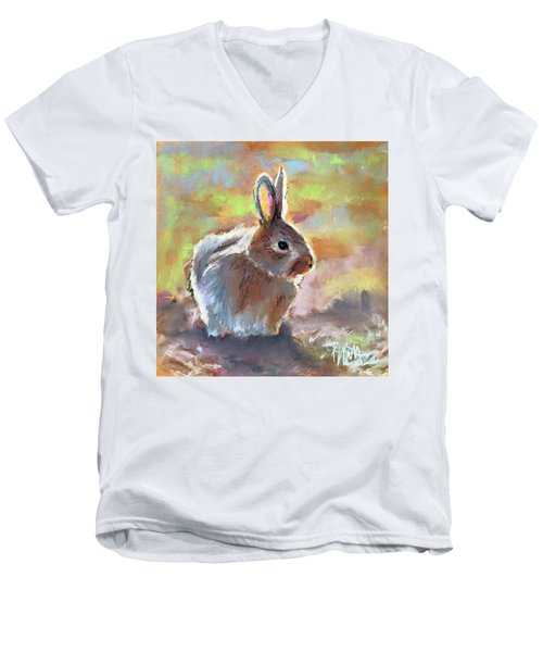 Bunny Men's V-Neck T-Shirt by Pattie Wall