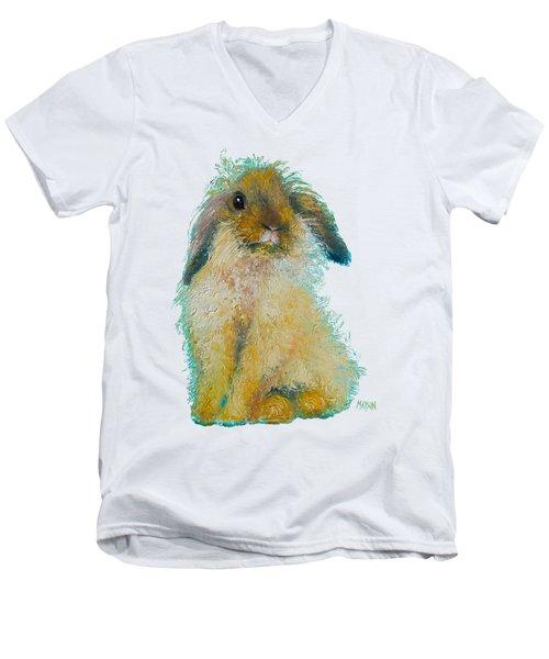 Bunny Rabbit Painting Men's V-Neck T-Shirt by Jan Matson