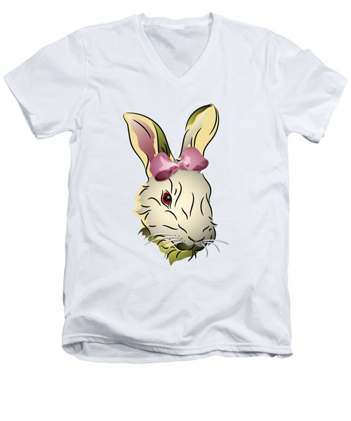 Bunny Rabbit With A Pink Bow Men's V-Neck T-Shirt