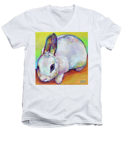 Men's V-Neck T-Shirt featuring the painting Bunny by Robert Phelps