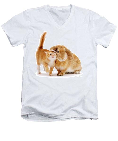 Bunny Rubbing Men's V-Neck T-Shirt