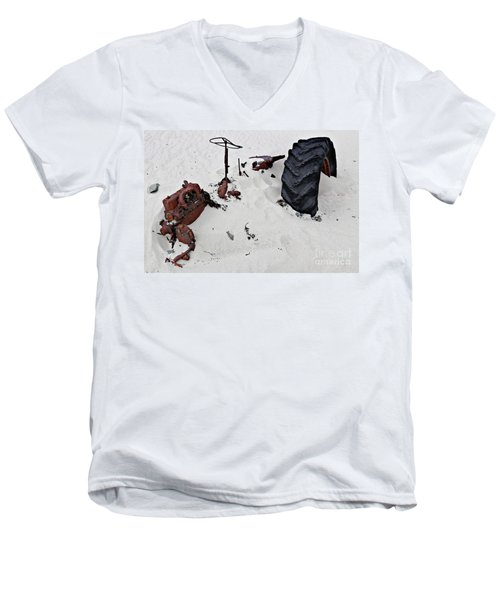 Buried Up To The Wheels Men's V-Neck T-Shirt by Stephen Mitchell