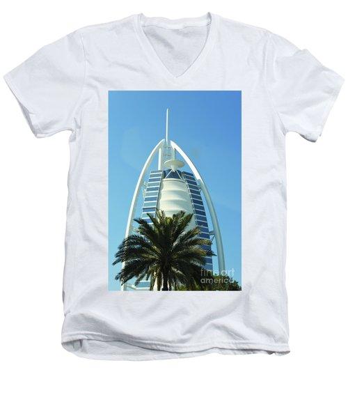 Men's V-Neck T-Shirt featuring the photograph Burj Al Arab by Hanza Turgul
