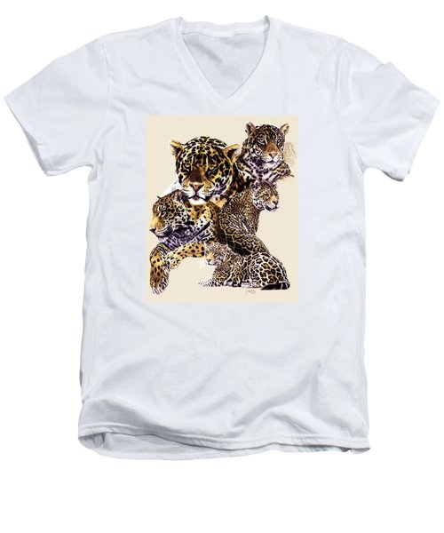 Men's V-Neck T-Shirt featuring the drawing Burn by Barbara Keith
