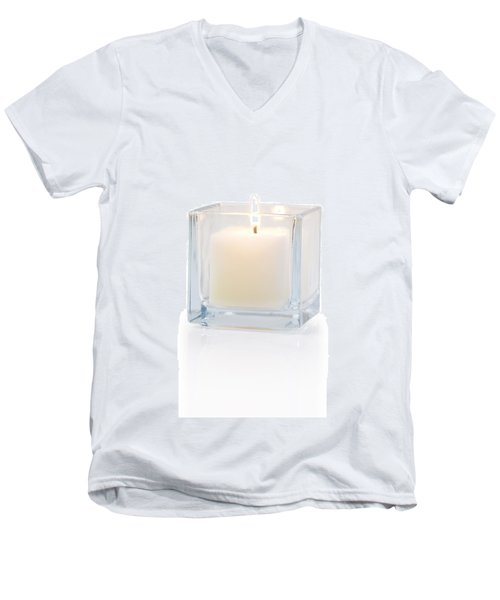 Burning Candle Side View 20 Degree Men's V-Neck T-Shirt
