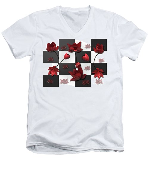 Men's V-Neck T-Shirt featuring the photograph Burnt Crimson Flora by Rockin Docks Deluxephotos