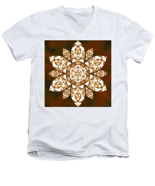 Men's V-Neck T-Shirt featuring the digital art Burnt Geomatrix by Derek Gedney