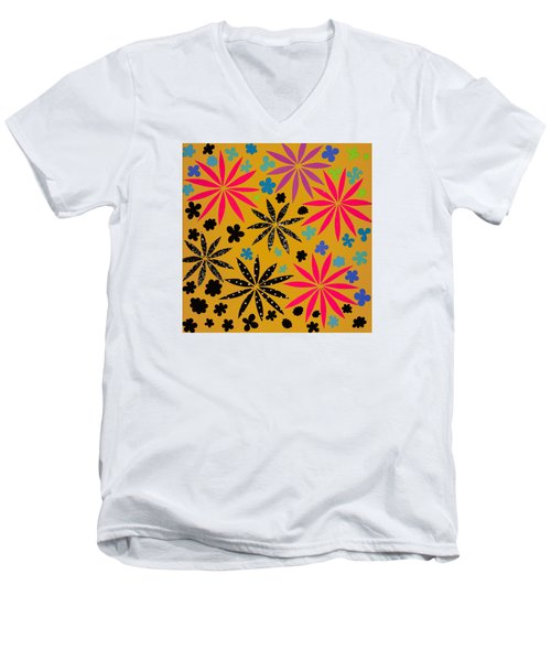 Men's V-Neck T-Shirt featuring the mixed media Bursting Open by Gloria Rothrock