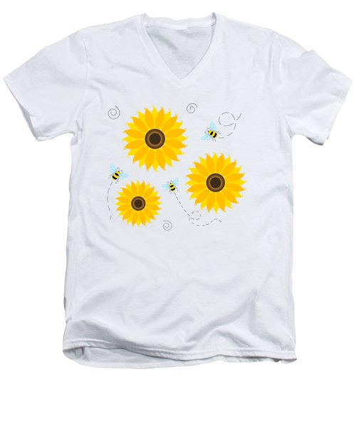Busy Bees And Sunflowers - Large Men's V-Neck T-Shirt by SharaLee Art