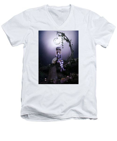 Men's V-Neck T-Shirt featuring the digital art Busy Doing Nothing by Shanina Conway