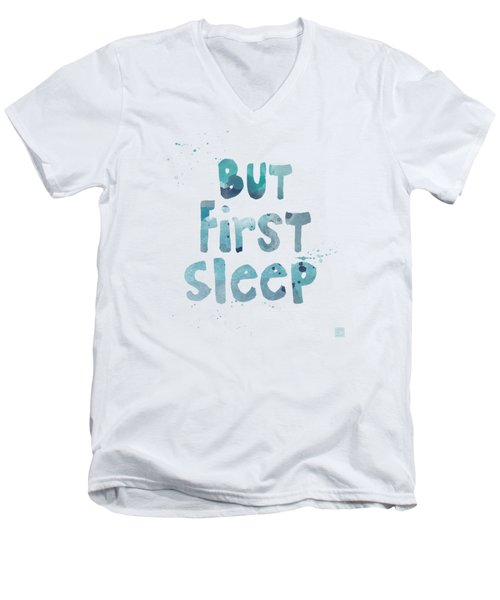 Men's V-Neck T-Shirt featuring the painting But First Sleep by Linda Woods