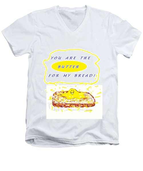 Men's V-Neck T-Shirt featuring the drawing Butter For My Bread by Denise Fulmer